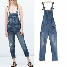 New Womens Casual Ladies Washed Denim Jumpsuit Overall Pants Trousers Jeans