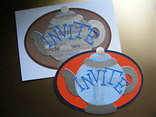 Teapot Tea Pot Party China Cuppa Invatation Floral Masculine Die Cuts