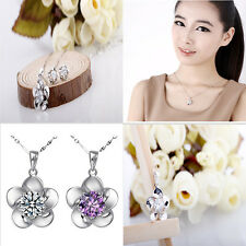 Delicate Crystal Stone Inlay Silver Flower Pendant Womens Necklace Crystal Chain
