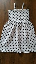 Girls OVS Strappy Summer Dress White with black spots Ages 3-8 Years BRAND NEW