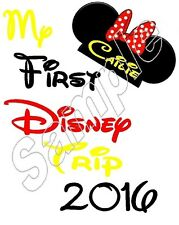 My First DISNEY Trip 2015 GIRL Minnie Mouse Iron On T Shirt Fabric Transfer