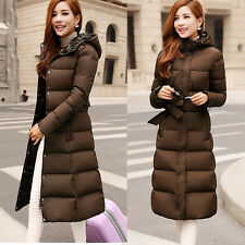 3Color Women's Warm 90 Duck Down Long coat Jacket Puffer Hooded Parka belted