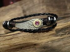 Handmade Black Leather Wing 45 Auto Brass Bullet Bracelet. Includes Crystals