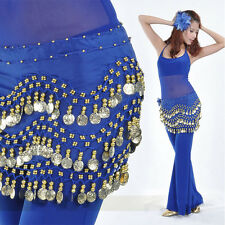 Brilliant 3 Rows Coins Belly Dance Purple Chiffon Hip Skirt Scarf Wrap Belt New