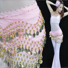 Charming Belly Dance 3 Rows Chiffon coin Hip Scarf/Belly dance coin belt