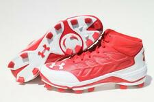 New Under Armour Heater Mid TPU Baseball Softball Cleats Red White
