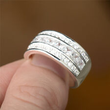 Wholesale women new fashion 925 sterling silver plated band AAA CZ Ring Size 7 8