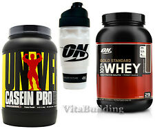Universal Casein Pro 2 Lbs, Optimum GS Whey 2 Lbs.,  Shaker Cup Stack
