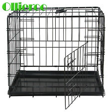 Ollieroo Pet Kennel Cat Dog Folding Steel Crate Animal PlayPen Wire Cage Black