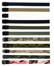 Military Web Belt with Black Buckle Lots of Colors - Cotton