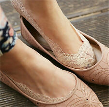 Womens low cut socks no show ankle slippers socks Floral Lace Antiskid Fashion