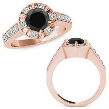 1.75 Carat Black Round Diamond  Solitaire Halo Engagement Ring Set 14K Rose Gold