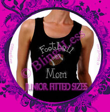 Football Mom - C - Iron on Rhinestone Tank Top - Bling Transfer Sports Mom Shirt