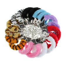 UK ALL COLORS METAL HANDCUFFS FANCY DRESS FLUFFY FURRY  SEXY ROLE PLAY NIGHT TOY