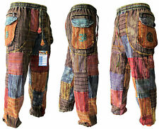 Patchwork Peace Baba Baggy Hippy Pants Elastic Waist Summer Om Gypsy Trousers