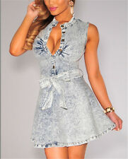 Dark Denim/Denim Belted Skater Dress LC22161 Women casual summer party mini