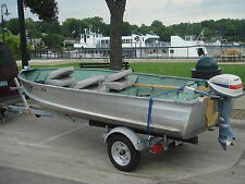 1980 Sea Nymph 14ft Aluminum Fishing Boat With 1975 Evinrude Motor & Trailer