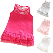 2-7Y Baby Kids Girl Cotton Lace One-Piece Dress Princess Tutu Skirt Sundress New