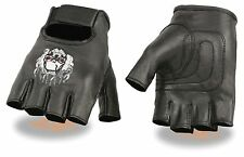 MOTORCYCLE BIKE LEATHER FINGERLESS GLOVES SKULL & FLAMES EMBROIDERED BLACK NEW