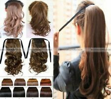 New Clip In Ponytail Pony Tail Hair Extension Wrap On Hair Piece Straight Curly