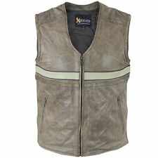 Xelement Mens Burn Rubber Tan Motorcycle Leather Vest With Gun Pocket