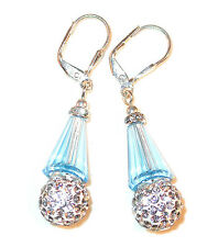 AQUAMARINE & CLEAR Crystal Earrings Silver Artemis Disco Ball Swarovski Elements