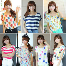 Sexy Women Casual Short Sleeve Loose Summer Chiffon T-shirt Tops Shirt Blouse