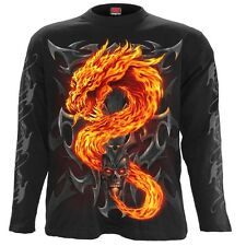 Spiral Fire Dragon Longsleeve T-Shirt Black [Special Order] - Gothic,Goth,Dragon