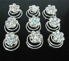 Hot 12Pcs Wedding Flower Crystal Hair Twists Spins Pins Hairpins For Women Girl