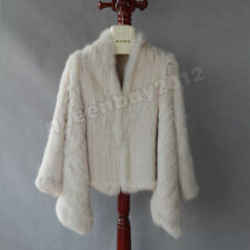 High Quality 100% Real Knitted Rabbit Fur Jacket Coat Cardigan Outwear Garment