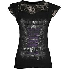 Spiral Waisted Corset Lace Layered Cap Sleeve Top Black [Special Order] - Gothic