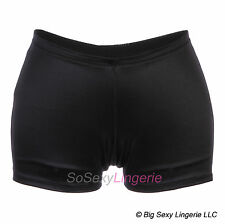 SO SEXY LINGERIE (TM) Shiny Black Hot Pants Shorts Lycra Spandex XS-XL
