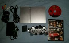 Sony Ps2 Slim Silver SCPH-79001 w/ cords, mem card, silver controller and games!