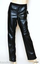 Nwt $228 Tahari LAUREN Faux Leather/Jersey Stretch Pants Trousers Black *8/10