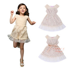 Baby Girls Lace Party Dress Toddler Kids Princess Wedding Christening Communion