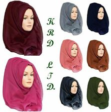 Ladies Plain Hijab Maxi Large Viscose/Rayon Shawl Scarf Sarong Wrap Big Cape