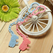 NEW BABY SOOTHER / DUMMY/ PACIFIER HOLDER CLIP WITH CHAIN PINK BLUE YELLOW COLOR