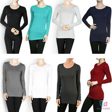 Women's Active Basic Long Sleeve Solid Top Stretch Tee Shirt Tight Fit Crew Neck