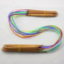 "40cm-120cm 16""-47"" 18 pairs Multicolor #G Tube Circular Bamboo Knitting Needles"