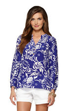 NWT Lilly Pulitzer XS S 0246 Silk Elsa Top Blouse Spectrum Blue Tide Pools $158