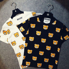 New Fashionial Men/Women Ready to Bear Logo moschino graphic cotton Tee S~XL
