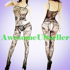 XS-5XL Sexy PLUS SIZE Fishnet CROTCHLESS Body Stocking Sex Toys NEW Lingerie#384