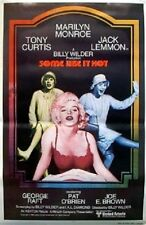 SOME LIKE IT HOT ROLLED MOVIE POSTER MARILYN MONROE 1980 TONY CURTIS