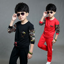 Boys Cotton 95% Two-piece Sports Wear Long Sleeve Round Collar Pullover 6~13Y
