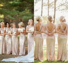 shine gold cap sleeve bridesmaid dress wedding prom evening party banquet gown