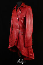 ENVY RED WAXED (3492) Ladies Military Long Lambskin Leather Trench Coat Jacket