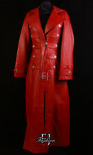 HERITAGE RED (3490) Ladies Military Long Lambskin Leather Trench Coat Jacket