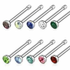 "20G 1/4"" Surgical Steel Nose Bone Stud Nose Ring with Press Fit 2 mm CZ Gem"