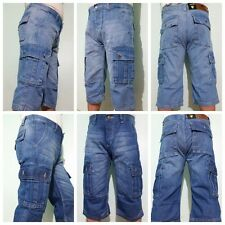 NEW MENS DENIM 3/4 SHORTS CARGO COMBAT JEANS SUMMER CASUAL LONG SHORTS STYLE 1