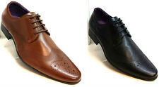 New Mens Smart Shoes Formal lace up Brogue Dressy Brown Leather Boot 7 8 9 10 11